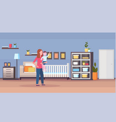Loving mother holding her little son at home baby vector