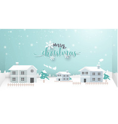 merry christmas winter snow village vector image