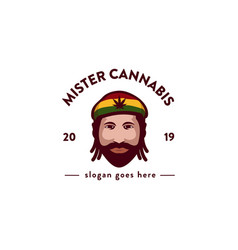 mister cannabis logo icon template vector image
