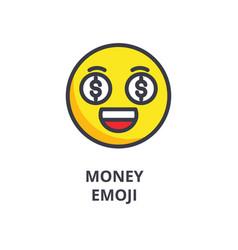 Money emoji line icon sign vector