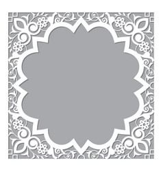 Moroccan carved style openwork frame vector