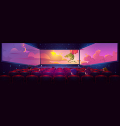 Movie theater hall with panoramic screen vector