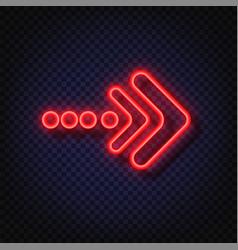 Neon arrow sign glowing neon arrow pointer vector