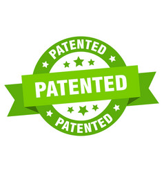 patented ribbon patented round green sign patented vector image