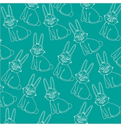 pattern of silhouettes of rabbit isolated on blue vector image
