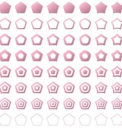 Pink pentagon shape polygon icon set vector image