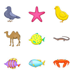pisces icons set cartoon style vector image