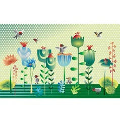 Plants and birds vector