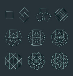 Quadrangle contour various sacred geometry set vector