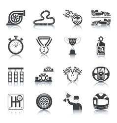 Racing Icons Black vector image