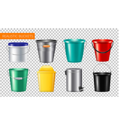 realistic buckets transparent icon set vector image