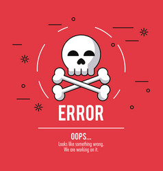 Red background poster with skull and bones error vector