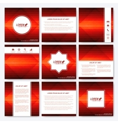 Red set templates for square brochure vector image