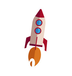 rocket taking off with fire vector image