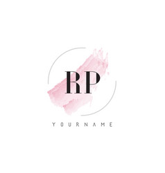 Rp r p watercolor letter logo design with vector