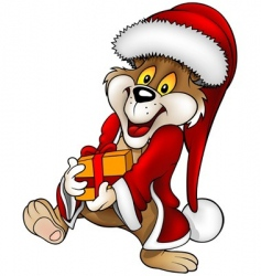 Santa bear and gift vector image