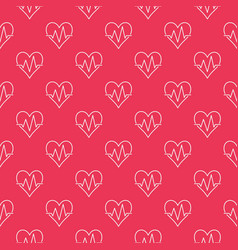 seamless red pattern of heartbeat vector image