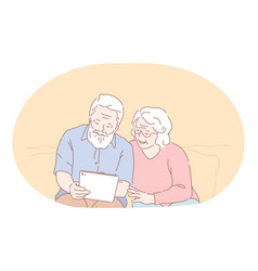 Senior elderly couple living happy active vector