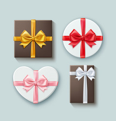 set gift boxes different forms with vector image