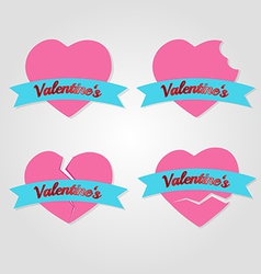 set hearts badges and labels valentines day vector image