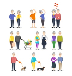 Set of senior people Different activity cooking vector image
