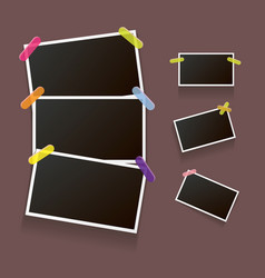 Set of vintage photo frame with shadow isolated on vector