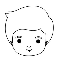 Silhouette closeup front view guy with hairstyle vector