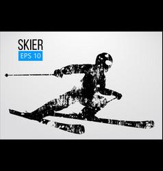 Silhouette of skier vector