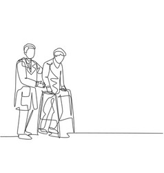 single continuous single line drawing young vector image