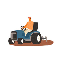 smiling male farmer working on tractor flat vector image