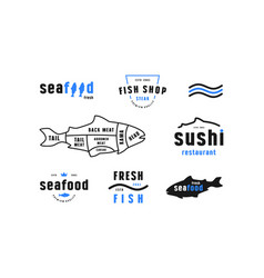 Stock fish cuts diagram and label for seafood shop vector