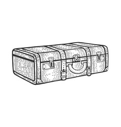 suitcase travel bag sketch engraving vector image