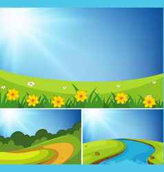 three scenes of garden at day time vector image