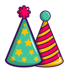 two colorful party hats icon cartoon style vector image