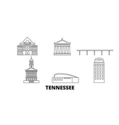 United states nashville line travel skyline set vector