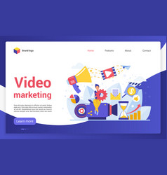 Video marketing campaign website landing page vector