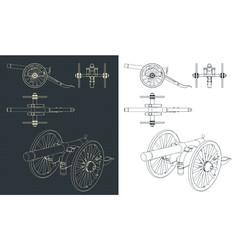 Vintage artillery cannon drawings vector