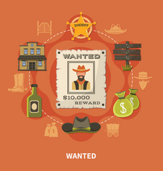 wanted person cowboy round composition vector image