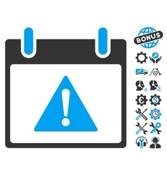 Warning Calendar Day Icon With Bonus vector