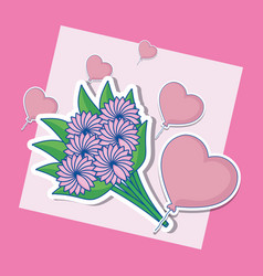 Wedding card with bouquet of flowers vector