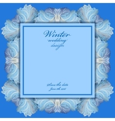 Wedding frame with winter frozen glass design vector