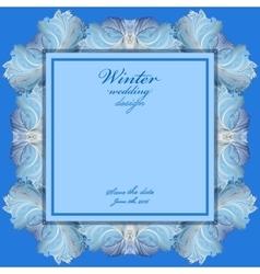 Wedding frame with winter frozen glass design vector image
