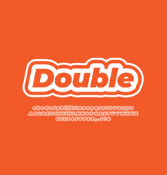 White line and orange modern text effect or font vector