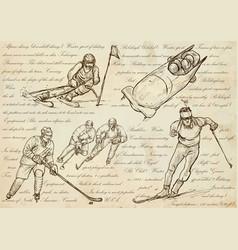 Winter sports - an hand drawn line vector
