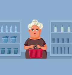 Woman shopping in supermarket cartoon vector