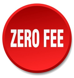 Zero fee red round flat isolated push button vector