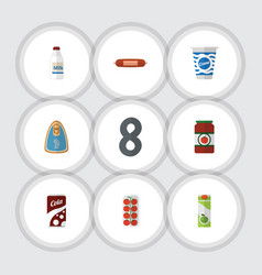 Flat icon eating set of packet beverage kielbasa vector
