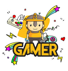 gamer player background image vector image
