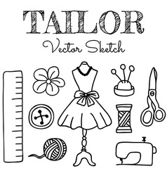 Hand-drawn Tailor Elements vector image