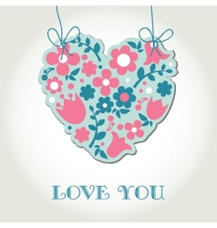 Love greetings card with floral heart vector image
